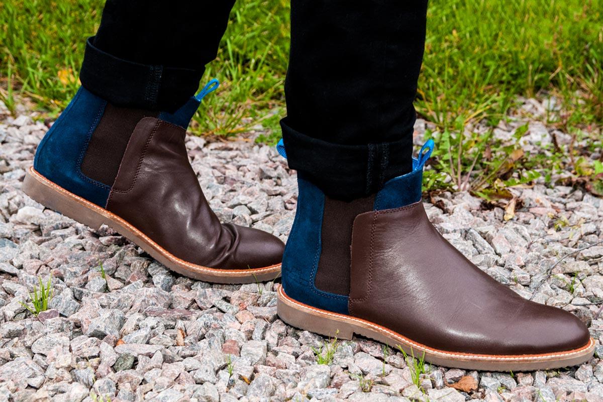Boots i semsket skinn